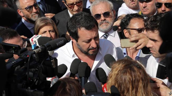 Italy's new Interior Minister Matteo Salvini speaks to media in the Sicilian port of Pozzallo. Photo: AP
