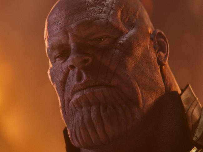 "Josh Brolin as Thanos in a scene from Marvel Studios' ""Avengers: Infinity War."" (Marvel Studios via AP)"
