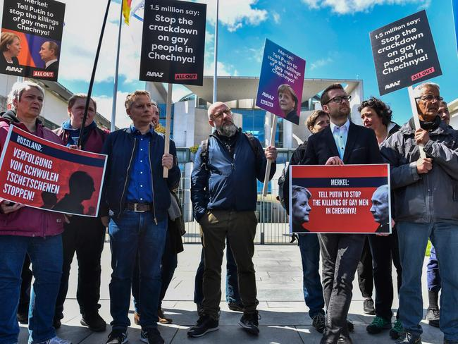 Activists call on Putin to put an end to the persecution of gay men in Chechnya. Picture: AFP