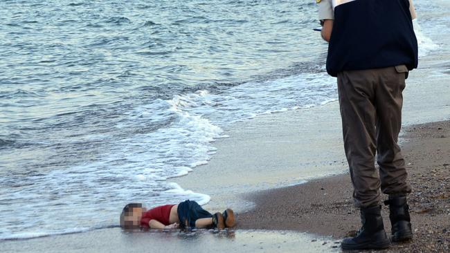The heartbreaking photo of Aylan Kurdi, which was shared around the world. Picture: AP Photo/Nilufer Demir