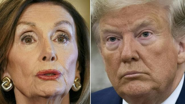 Speaker of the House Nancy Pelosi has said impeachment proceedings against US President Donald Trump could come to Congress on Monday. Picture: Mandel Ngan and Saul Loeb/AFP