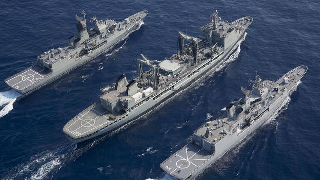 Big bucks ... Political delays are costing taxpayers millions of dollars to keep old support ships such as HMAS Tobruk (34 years) and HMAS Success (30 years) at sea. Picture supplied.