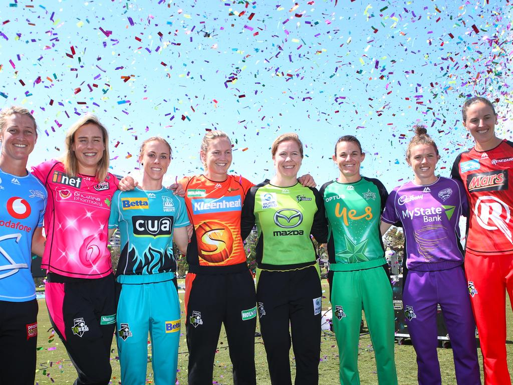 (L-R) Sophie Devine of Adelaide Strikers, Ellyse Perry of Sydney Sixers, Kirby Short of Brisbane Heat, Meg Lanning of Perth Scorchers, Alex Blackwell of Sydney Thunder, Erin Osborne of Melbourne Stars, Sasha Moloney of Hobart Hurricanes and Amy Satterthwaite of Melbourne Renegades at the launch of the fourth Rebel Women's Big Bash League (WBBL) season in Melbourne, Friday, November 30. 2018. (AAP Image/David Crosling) NO ARCHIVING