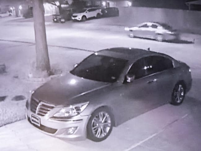 Surveillance footage of the car suspected of being involved in the murder of Australian Brenton Estorffe. Picture: Scott Dalton
