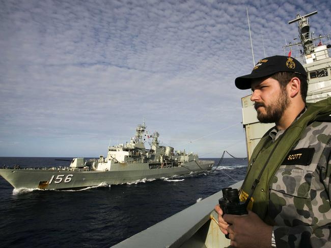 International search ... Able Seaman Maritime Logistics – Steward Kirk Scott keeping watch as the search took place off the coast of Western Australia.