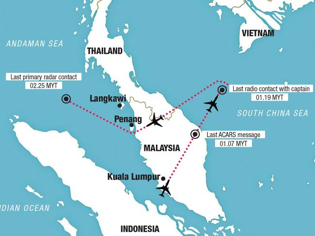 MH370 was supposed to travel from Kuala Lumpur to Beijing but changed course.