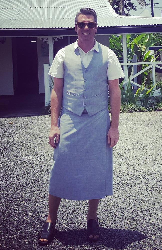 Jordie in Fiji, where he regularly wears a Sulu.