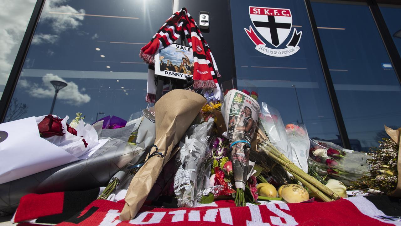A tribute to Danny Frawley is seen at St Kilda Football Club's headquarters last week. (AAP Image/Erik Anderson)