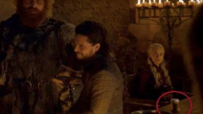 A coffee cup was spotted in the background of a recent Game Of Thrones episode. Picture: Supplied Source: Supplied