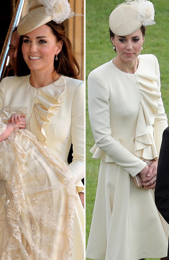 For Prince George's christening in 2013, the Duchess opted for this cream Alexander McQueen dress, which she later rewore in 2016 to an event at Buckingham Palace.