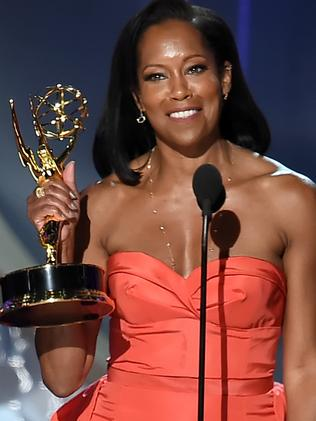 Regina King with her Emmy for American Crime. Picture: Getty