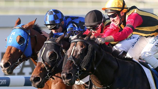Spirit Of Boom (outside) edges out fellow Queensland horses Temple Of Boom (middle) and Buffering (rails) to win the Doomben 10,000. Picture: Jono Searle