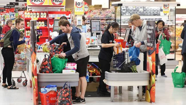 Shoppers using reusable bags at Coles in Maroubra, NSW. Picture: Richard Dobson.