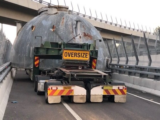 The oversized truck is expected to block the off-ramp for the rest of the afternoon. Picture: Live Traffic NSW