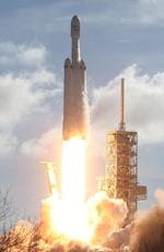 The SpaceX Falcon Heavy rocket lifts off from launch pad 39A at Kennedy Space Center on February 6, 2018 in Cape Canaveral, Florida. Picture:Joe Raedle/Getty Images/AFP