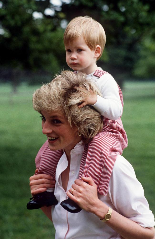 Princess Diana showered Harry with affection as a child. Picture: Tim Graham