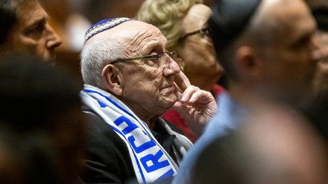 Holocaust survivor Max Glauben listens during during a community service of hope and healing at Congregation Shearith Israel in Dallas on Sunday. Picture: Shaban Athuman/The Dallas Morning News via AP