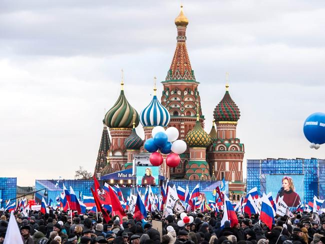 'We were robbed'...Pro-Kremlin activists rally at the Red Square in Moscow to celebrate the incorporation of Crimea. Picture: AFP