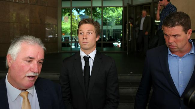 GWS' Toby Greene at the Melbourne Magistrates Court following a pub brawl in 2014. Picture: Mark Stewart