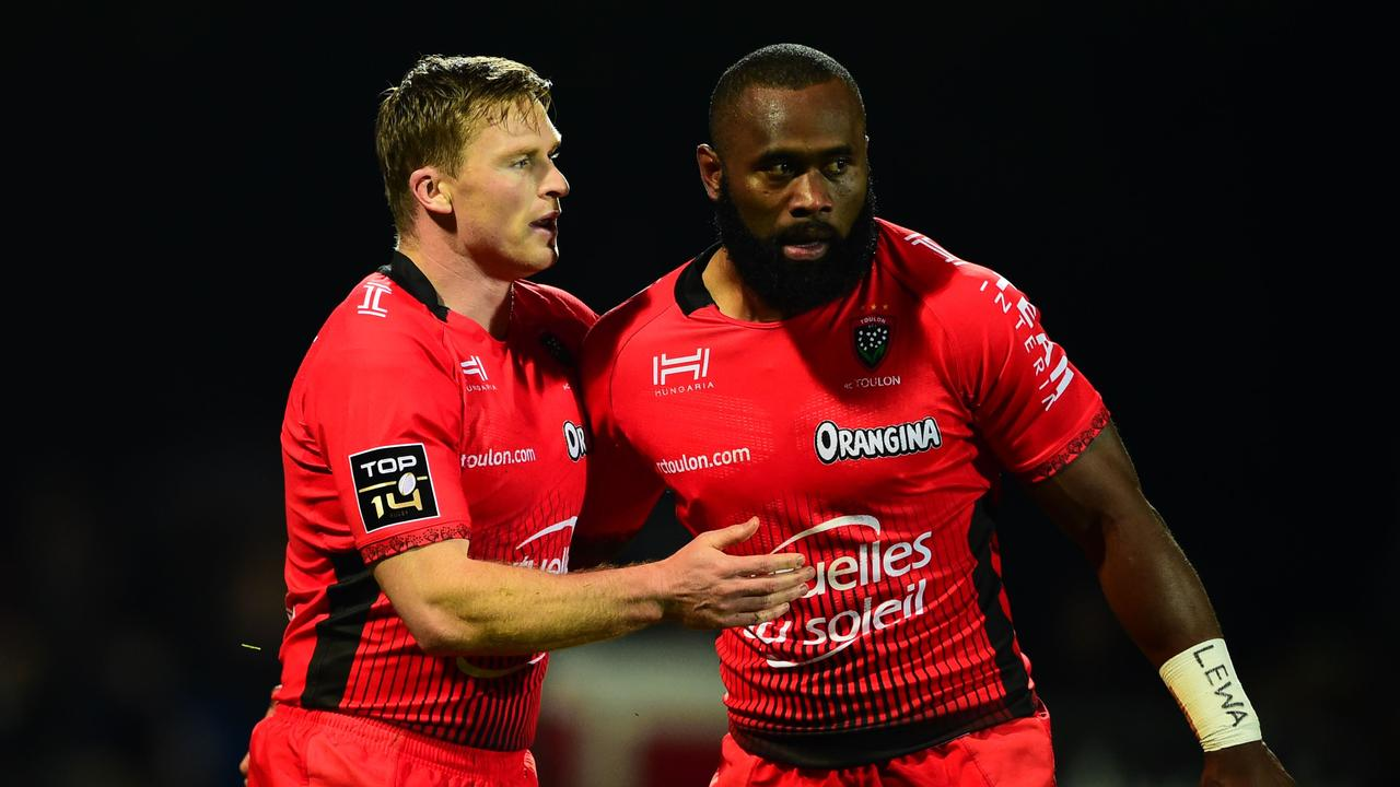 England fullback Chris Ashton (L) and Fijian Semi Radradra have formed a deadly partnership for Toulon this season.