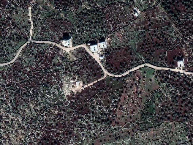 A google satelite image of the compound where Abu Bakr al-Baghdadi died.