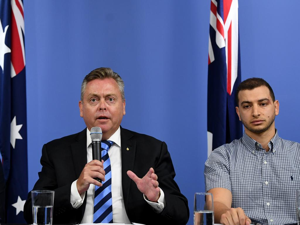 Former Planning Minister Anthony Roberts and Chairman of the Opal Tower body corporate Shady Eskander speak to the media during a press conference in Sydney. Picture: AAP