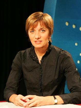Then Media Watch host Liz Jackson at the ABC set in Ultimo, Sydney.