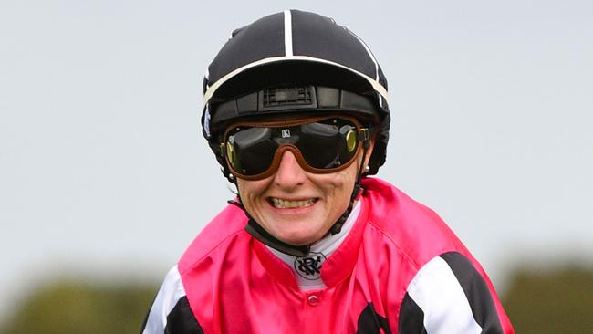 Linda Meech was all smiles after The Holy One's win at Sandwon Hillside. Picture: AAP
