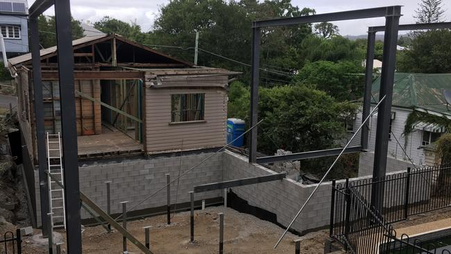 BEFORE: The back of the house at 15 Glamorgan St, Paddington, before the renovation.