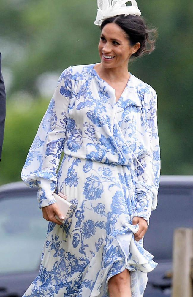 Meghan attends the wedding of Harry's cousin Celia McCorquodale. Picture by: Geoff Robinson Photography/SplashNews.com.