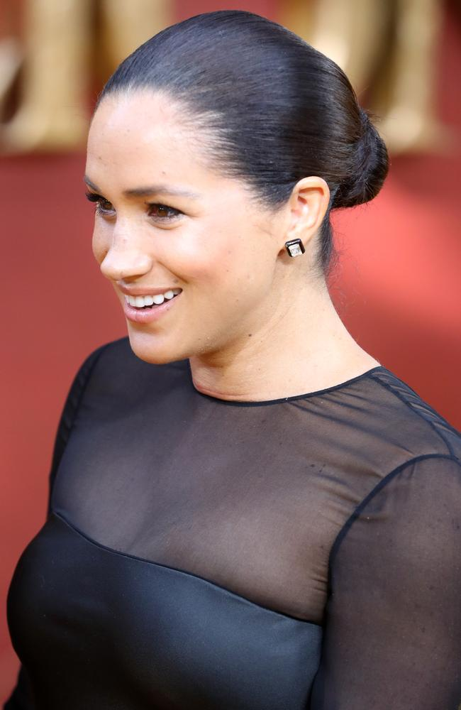 Meghan's hair was pulled back into a sleek bun. Picture: Chris Jackson/Getty Images