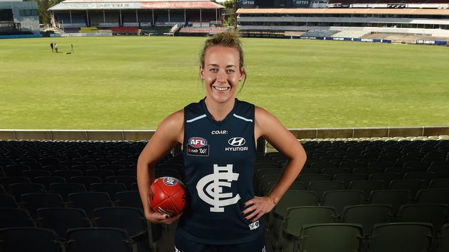 Lauren Arnell at Ikon Park after she was unveiled as Carlton's AFLW captain. Picture: David Smith