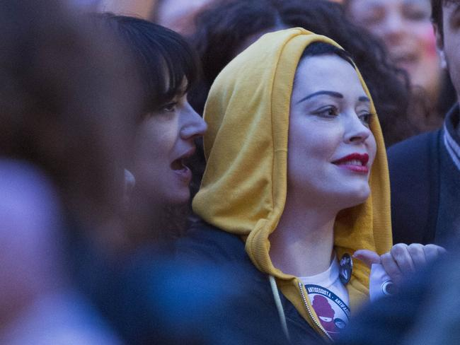 Asia Argento and Rose McGowan during the Me Too march. Picture: MEGA TheMegaAgency.com