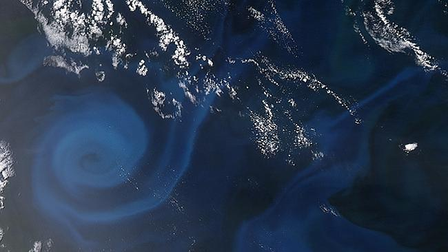 The swirl has tentacles more than 100 km wide.