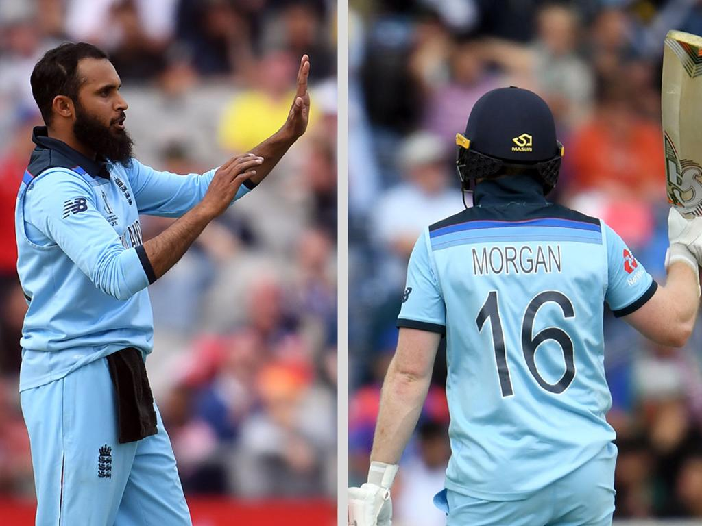 Adil Rashid claimed three wickets, while Eoin Morgan top scored as England smashed Afghanistan.