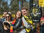 Girlfriend and boyfriend Jess, 18, and Jordan, 19, at the MCG. Picture: Jason Edwards