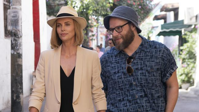 Theron and Seth Rogen in their new film Long Shot. Picture: AP