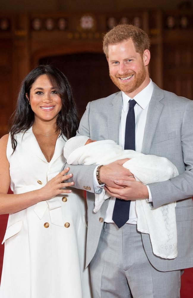 Instead of having press photos taken on the steps of St Mary's, Meghan and Harry introduced Archie at Windsor Castle on May 8. Picture: Getty Images