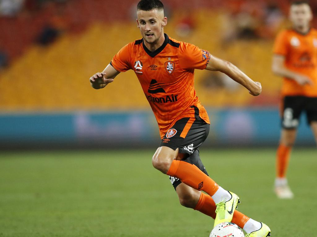 Jordan Courtney-Perkins of Roar during the Round 10 A-League match between the Brisbane Roar and the Western United FC at Suncorp Stadium in Brisbane, Friday, December 13, 2019. (AAP Image/Josh Woning) NO ARCHIVING, EDITORIAL USE ONLY