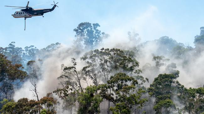 Aerial fire bombing on the fire. Picture: Jay Town