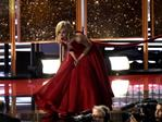 "Nicole Kidman reacts onstage while accepting the award for outstanding limited series for ""Big Little Lies"" at the 69th Primetime Emmy Awards on Sunday, Sept. 17, 2017, at the Microsoft Theater in Los Angeles. Picture: AP"