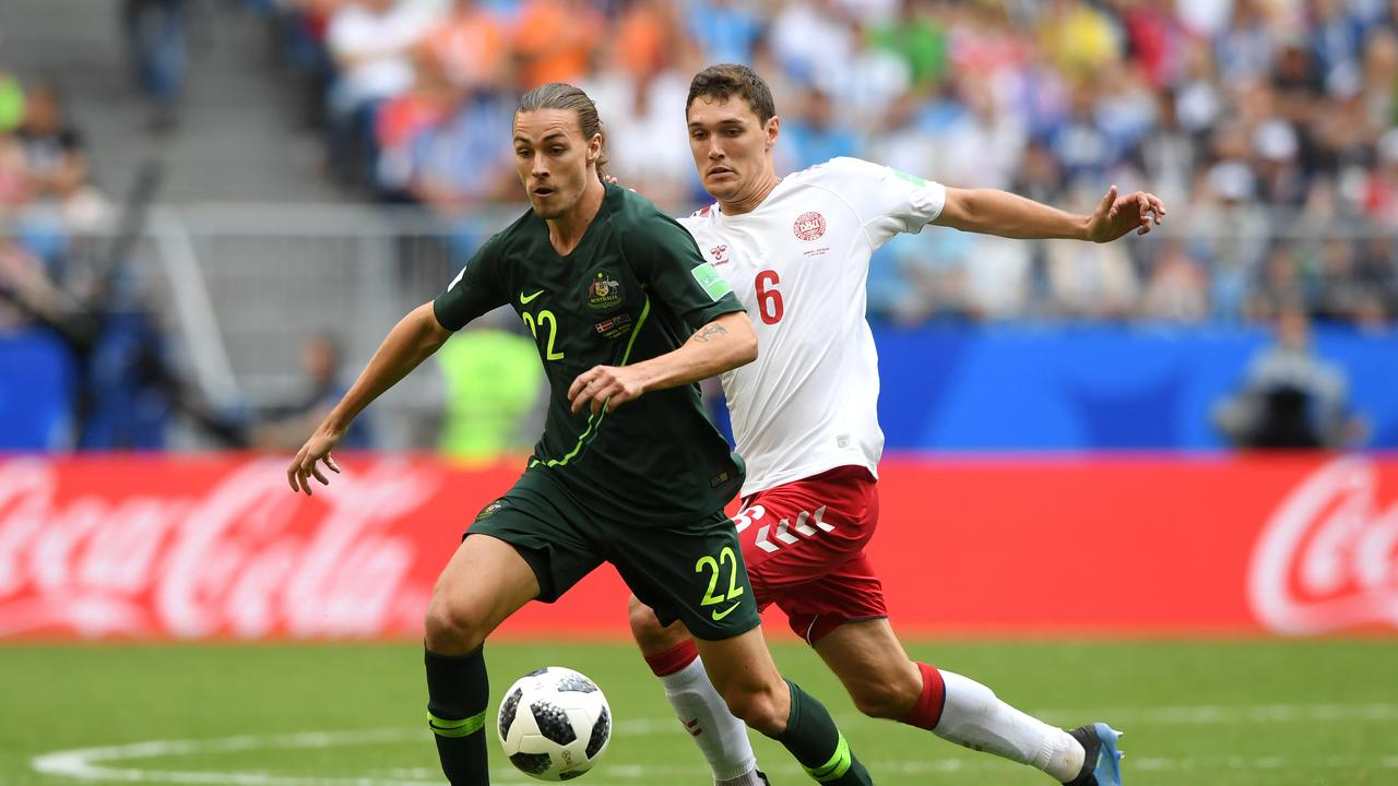 Jackson Irvine in action during the 2018 World Cup. (Photo by Stu Forster/Getty Images)