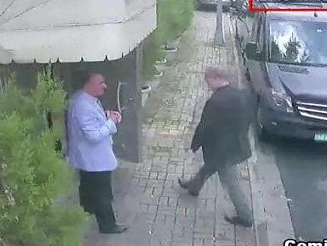 Khashoggi (right) strides toward the Saudi Embassy in Turkey in October 2, 2018. He would not make it out alive. Picture: CCTV/Hurriyet via AP