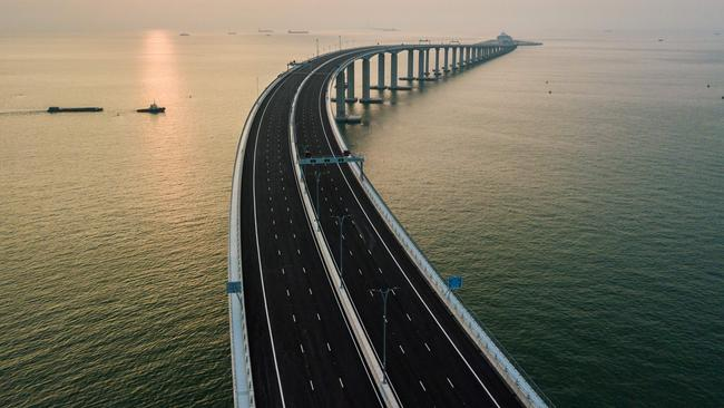 An aerial view shows a section of the Hong Kong-Zhuhai-Macau Bridge. Picture: AFP