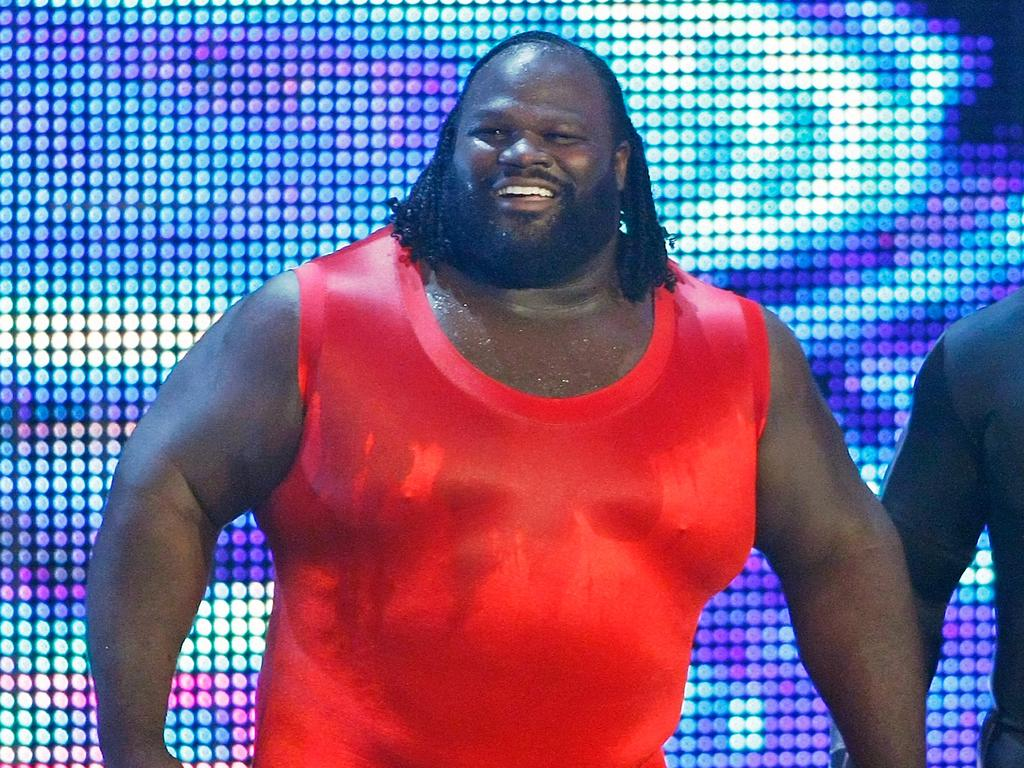 LAS VEGAS - AUGUST 24: Wrestlers Mark Henry (L) and MVP are introduced during the WWE Monday Night Raw show at the Thomas & Mack Center August 24, 2009 in Las Vegas, Nevada. (Photo by Ethan Miller/Getty Images)