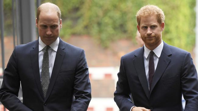 Harry and William's relationship has apparently been fractured for many months. Picture: AP.