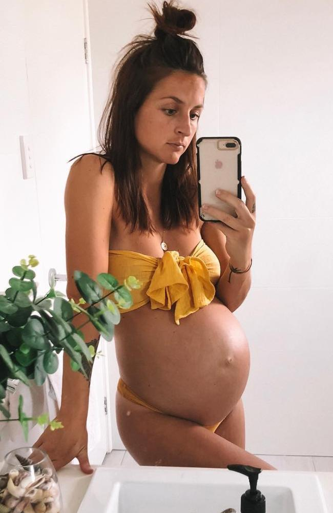 Nicole on her due date at 40 weeks pregnant. The 25-year-old put on 13kg during both her first and second pregnancy.