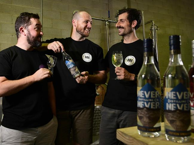 Never Never Distillery founders Sean Baxter, Tim Boast and George Georgiadis. The West Thebarton distillery's Southern Strength gin was judged the world's best at World Gin Awards in London. Picture: Bianca De Marchi