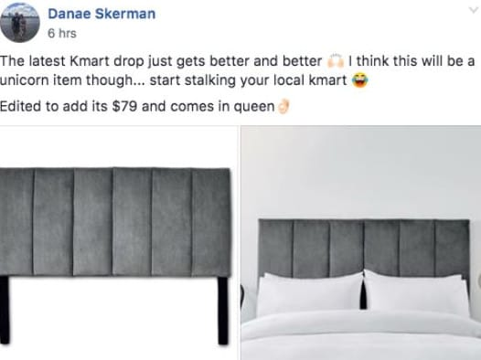 Kmart's new grey velvet bedhead is causing a buzz, with the 'unicorn' item set to sell out quickly.