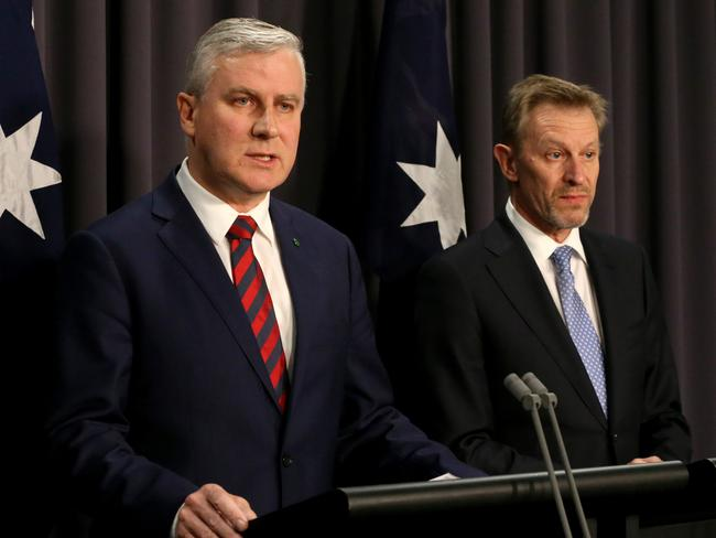 Michael McCormack and Australian Statistician David Kalisch try to explain the 2016 Census online meltdown. Picture: Ray Strange
